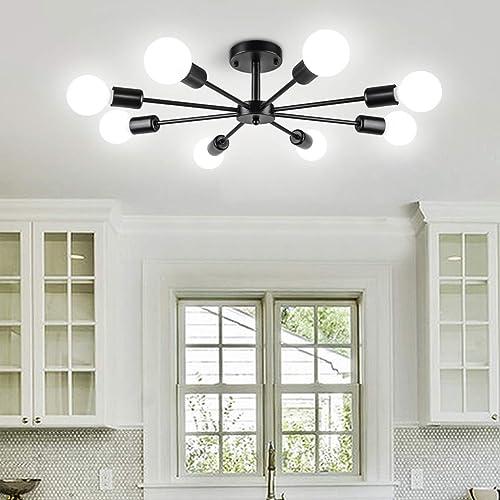 Modern 8 Lights Sputnik Chandeliers Semi Flush Mount Ceiling Light Fixture Mid Century Ceiling Pendant Lighting