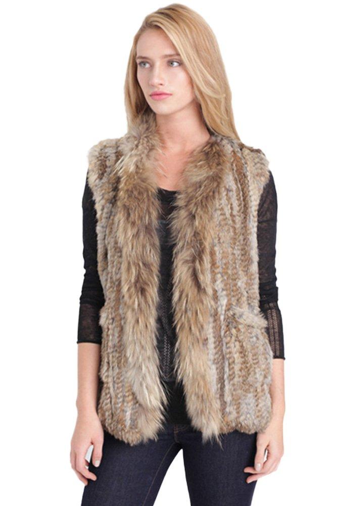 Queenshiny Women's Knitted Rabbit Fur Vest with Raccoon Trim-Grey
