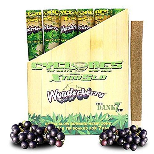 Cyclones Wonderberry XTRASLOW Pre-Rolled Flavored Hemp Wraps with Dank 7 Tip (12 Pack) and ES Scoop Card ()