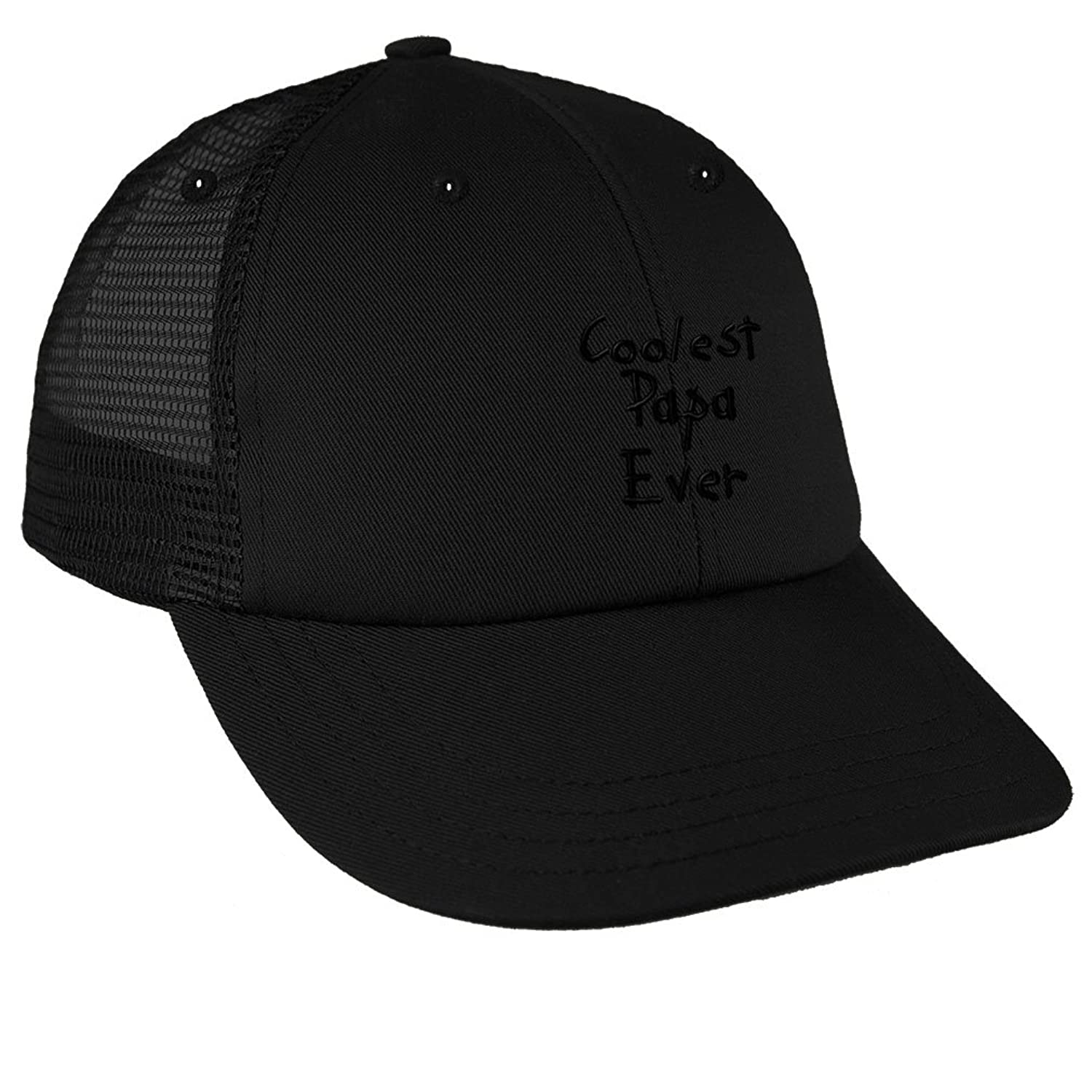 Amazon.com  Coolest Papa Ever Black Embroidery Low Crown Mesh Golf Snapback  Hat Black  Clothing 3bcfdee5809