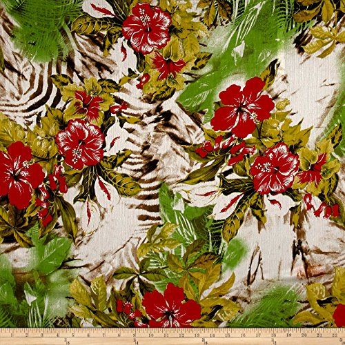 (Fabric Italian Designer Silk Crinkle Chiffon Digital Print Hawaiian Red/Green Yard)