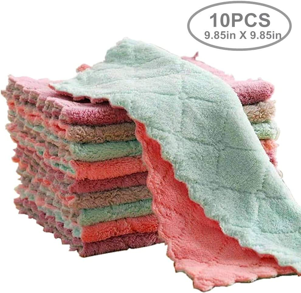 """yuequ 10-Pack 9.85""""x9.85"""" Microfiber Cleaning Cloth,Dish Towels, Double-Sided Dish Drying Towels,Reusable Household Cleaning Cloths for House Furniture Table Kitchen Dish Window Glasses"""