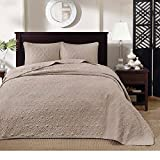 3 Piece Oversized King Bedspread to the Floor Set, Solid Khaki Brown Warm Tone, 120 Inches X 118 Inches, Coverlet Allover Quilt Drops Over Edge of King Beds, Microfiber, Stylish and Classic Stitched!