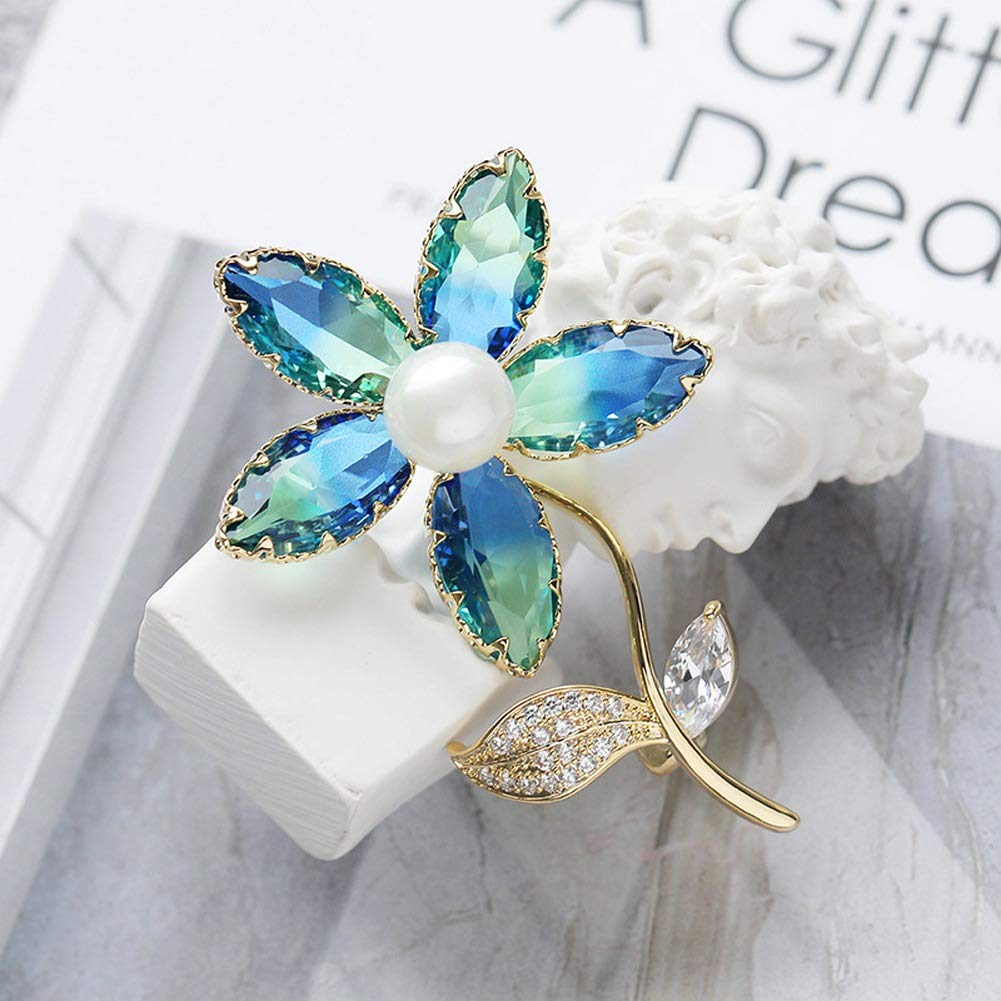 SKZKK Broaches and Pins for Women Color Tourmaline Crystal Flower Brooch Pins for Clothing Colorful Diamond Pearls for Crafts Collar Pins Suit Accessories Simple and Elegant