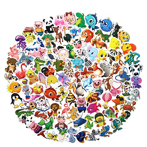 100PCS Lovely Cartoon Animals Stickers Waterproof Laptop Astronaut Stickers Car Bicycle Suitcase Computer Water Bottle Mobile Phone Stickers Decals for Kids (Cartoon Animals 100)