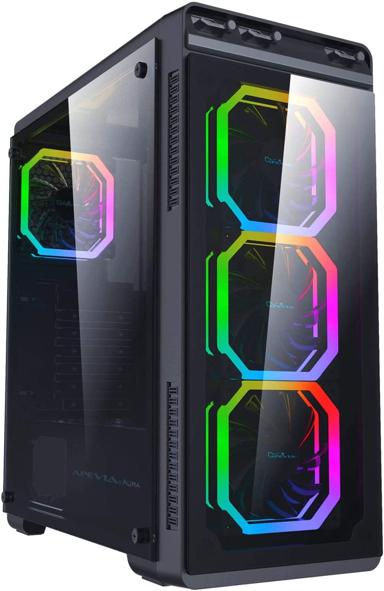 Apevia Aura-P-BK Mid Tower Gaming Case with 2 x Full-Size Tempered Glass Panel, Top USB3.0/USB2.0/Audio Ports, 4 x Phoenix RGB Fans, Black Frame