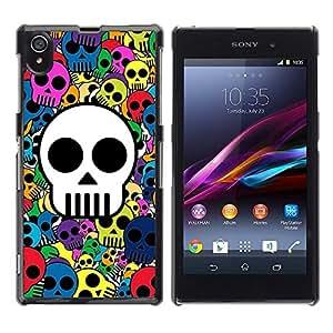 TopCaseStore / la caja del caucho duro de la cubierta de protección de la piel - Awesome Colorful Skull Pattern - Sony Xperia Z1 L39 C6902 C6903 C6906 C6916 C6943