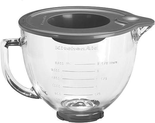 KitchenAid 5KGB - Bol de cristal con tapa de silicona, 4,83 litros ...