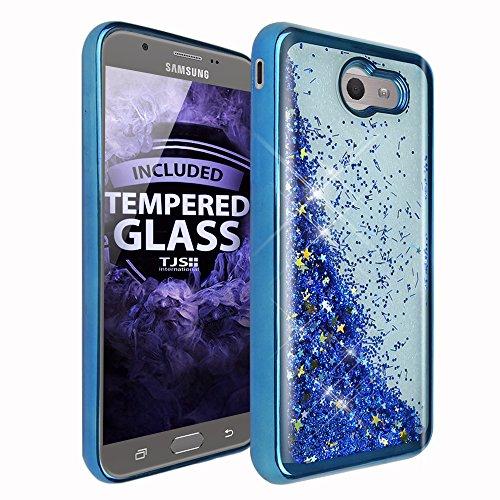 TJS Case for Samsung Galaxy J7 Sky Pro/Galaxy J7 Perx/Galaxy J7 V/Galaxy Halo/Galaxy J7 Prime, [Tempered Glass Screen Protector] Glitter Liquid Chrome Bump Hybrid Shockproof Motion Armor (Blue)