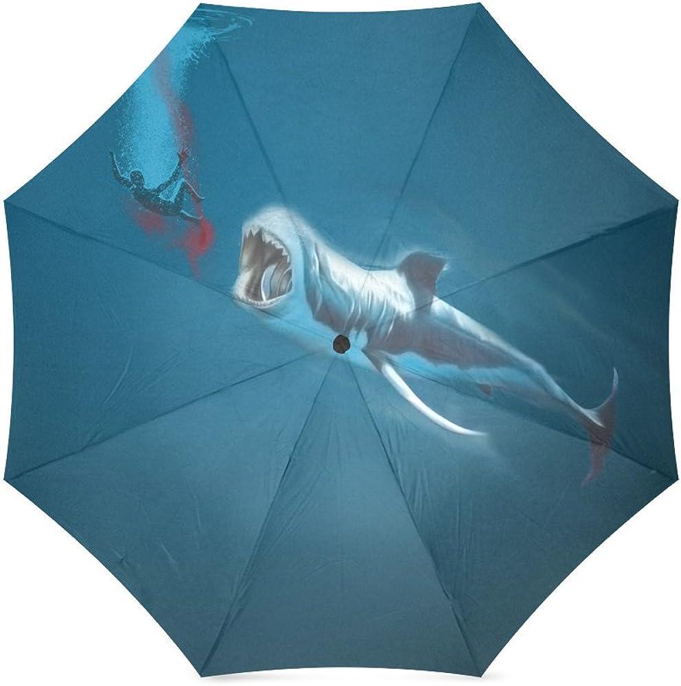 Folding Umbrella Rainproof /& Windprrof Umbrella Shark Custom Umbrella Automatic