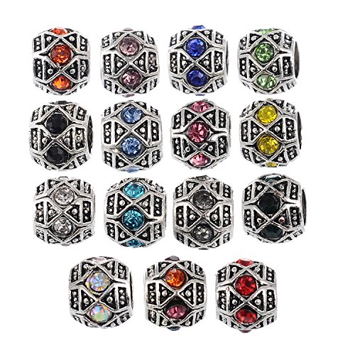 - RUBYCA 60Pcs Silver Color Tibetan Charm Beads Crystals Rhinestones fit European Charm Bracelet Mix Color