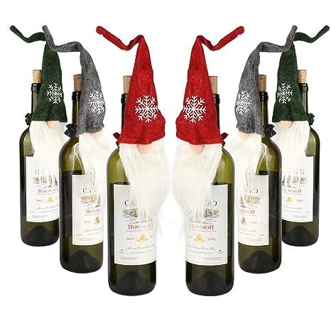 Amazon.com: Aytai 6 piezas de Navidad Gnomes botella de vino ...