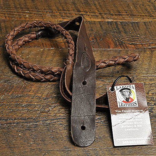 Lakota Leathers Mandolin Strap Round Braid 43 Inch Chocolate by Lakota Leathers