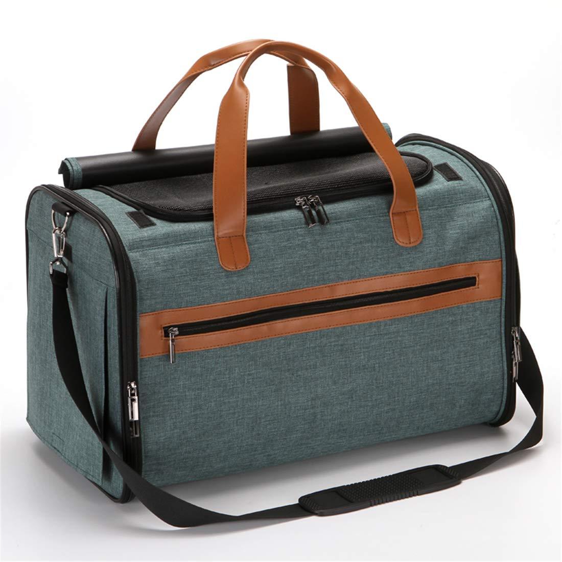 A Cyan 19.6L11W12.5H inch Hidden Type Travel Folding Pet Pack Adjustable Single Shoulder Bag Handbag 19.6L11W12.5H Inch