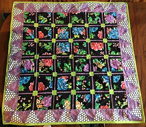 Black Floral/Lime Green Squares Baby Quilt by Home Before Dawn