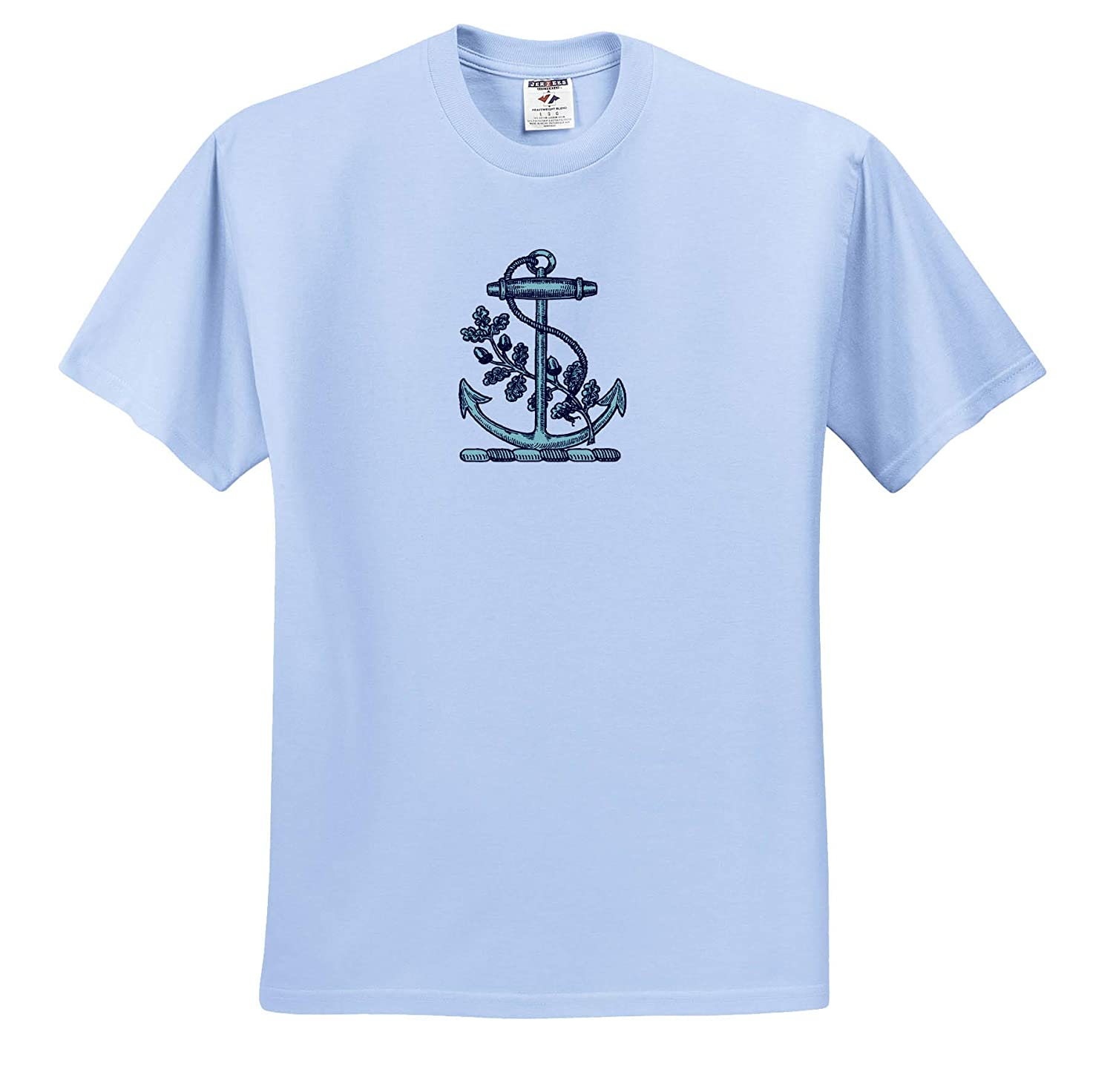 3dRose Russ Billington Nautical Designs T-Shirts Vintage Nautical Anchor and Oak Leaves with Acorns in Blue and White