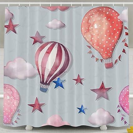 Charmant Abaysto Hot Air Balloon Star Clouds Shower Curtain,Bath Curtains Bathroom  Decor Sets With Hooks