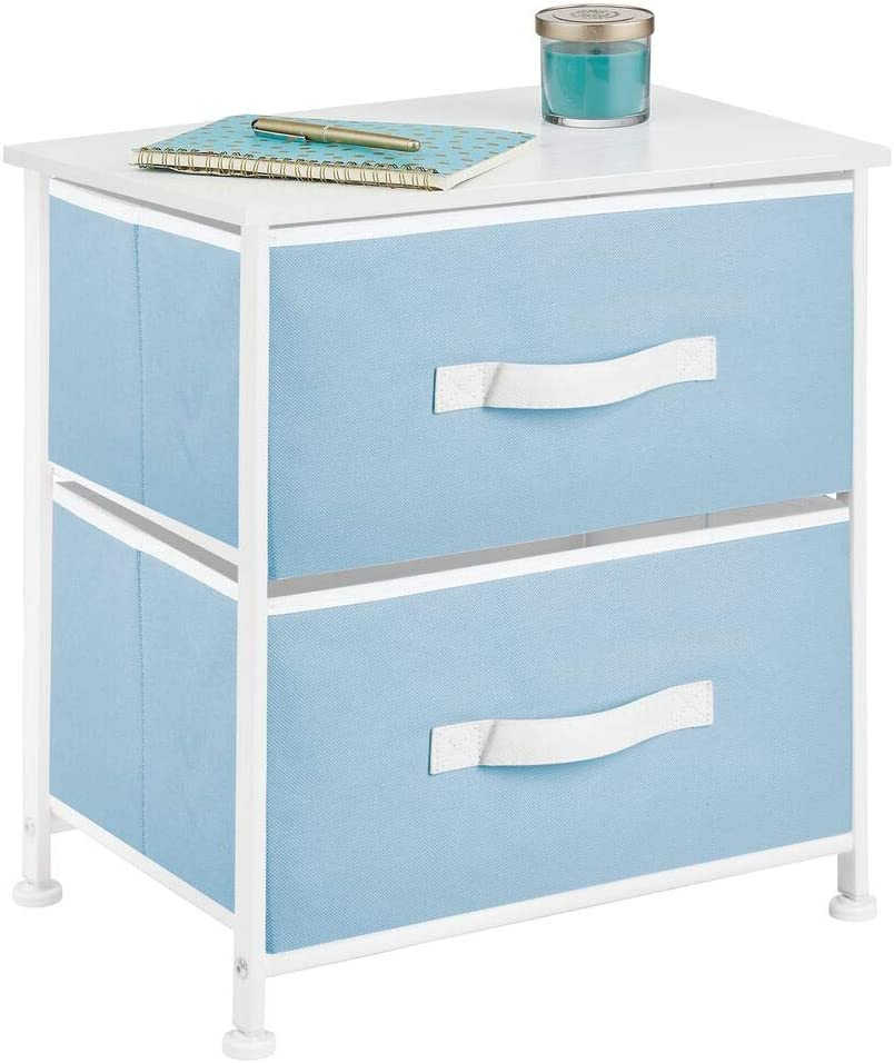 mDesign End Table/Night Stand Storage Tower - Sturdy Steel Frame, Wood Top, Easy Pull Fabric Bins - Organizer Unit for Bedroom, Hallway, Entryway, Closets - Textured Print, 2 Drawers - Blue/White