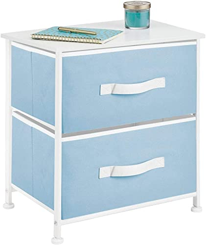 mDesign End Table Night Stand Storage Tower – Sturdy Steel Frame, Wood Top, Easy Pull Fabric Bins – Organizer Unit for Bedroom, Hallway, Entryway, Closets – Textured Print, 2 Drawers – Blue White