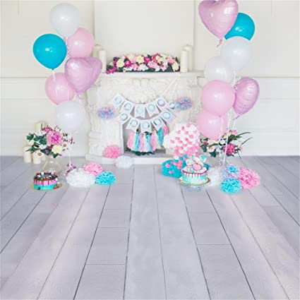 OFILA Girl 1st Birthday Background 5x5ft Paperflowers Party Decoration Cake Smash Props Candles Fireplace Balloons Plank