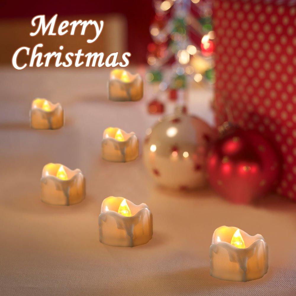 /Blanco Bodas y Fiestas/ Pascua Velas LED sin Llama con Temporizador 12pcs Velas FLAC N/úcleo el/éctrica Velas bater/ía Decoraci/ón para /árbol de Navidad innislink LED Velas