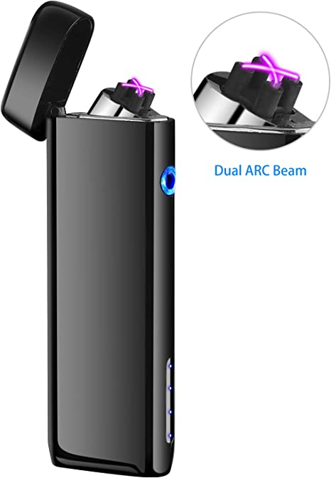 Saibit Electric Lighter Double Arc Electronic USB Rechargeable Lighter,