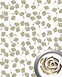 WallFace 16444 3D ROSE Wall panel punched flower decor metal look wallcovering self-adhesive gold pearlwhite | 2,60 sqm