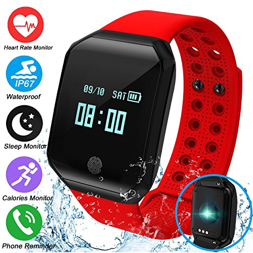 Fitness Tracker Smartwatch with Blood Pressure Heart Rate Monitor Tracker Sports Watch Bracelet for Women Men,IP67 Waterproof Watch Tracker Pedometer Calorie Swim Gift for Android (Red) by ONMet