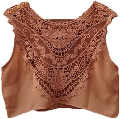 Auspicious beginning ahuecado de las mujeres que empalma del cordón del ganchillo Camisa sin mangas camiseta: Amazon.es: Ropa y accesorios