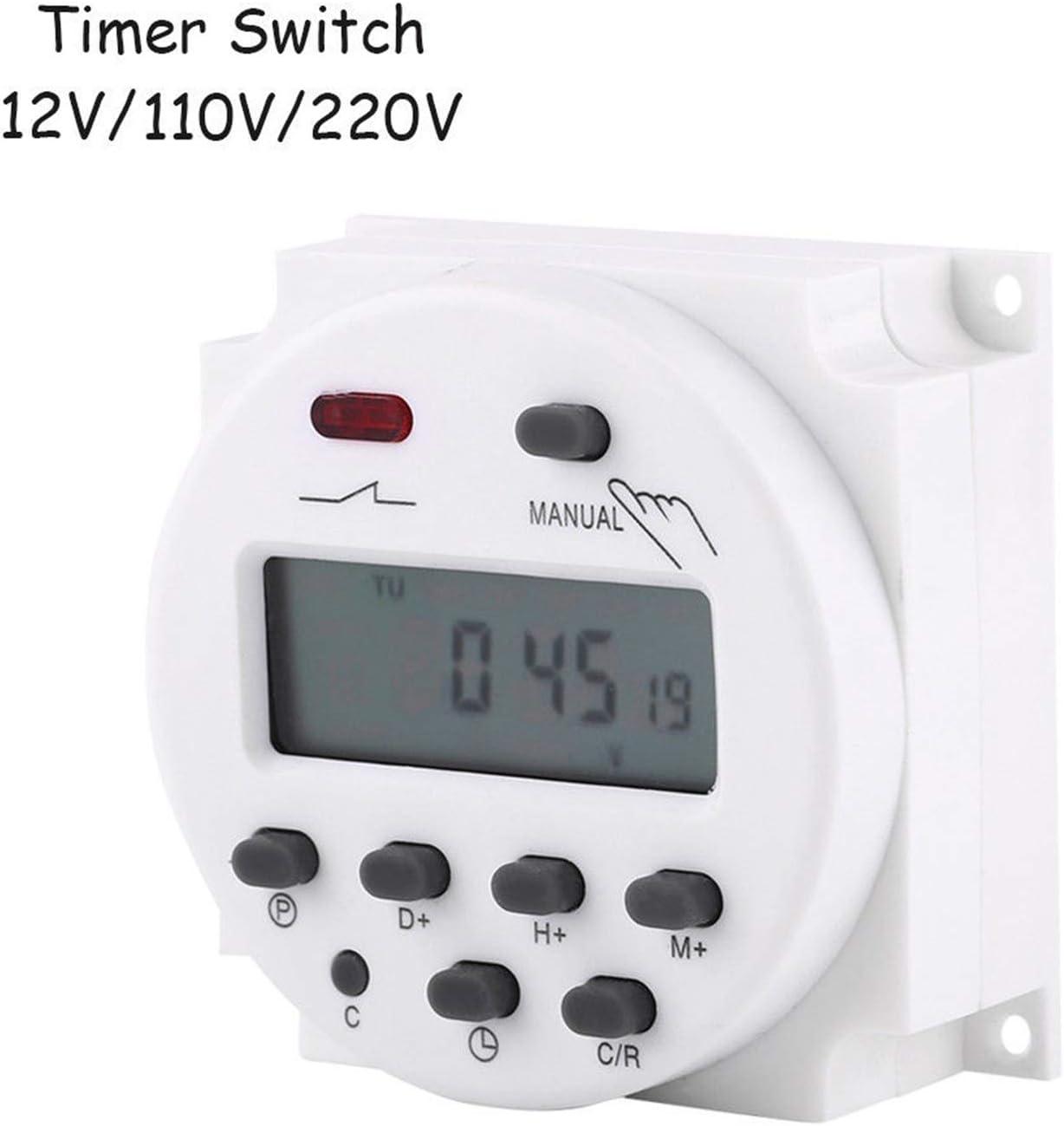 blanc Commutateur de minuterie programmable CN101A mis /à niveau AC//DC 12V 110V Commutateur de relais de minuterie programmable num/érique LCD hebdomadaire