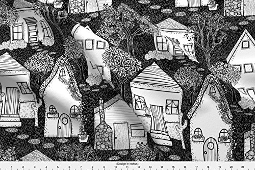 Wood Streets Fabric Into The Wood Streets by Vo Aka Virginiao Printed on Cotton Spandex Jersey Fabric by the Yard by Spoonflower