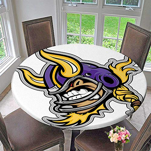 Mikihome Circular Table Cover Collection Image of a Snarling American Football Viking Mascot with Horns on Helmet for Wedding/Banquet 67