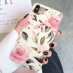 Topwin Floral Case Compatible with iPhone Xs Max, Flexible Soft TPU with Florwer and Leaf Pattern Slim Fit Lightweight Cute Case for Girls Women Compatible with Apple 6.5'' iPhone Xs Max(Pink)