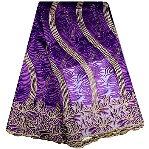 KENLACE 5 Yards/Lot Hot Sale African Lace fabric 2017 New Arrival African Cord Lace For Wedding Dresses Guipure Lace Fabrics (Purple)