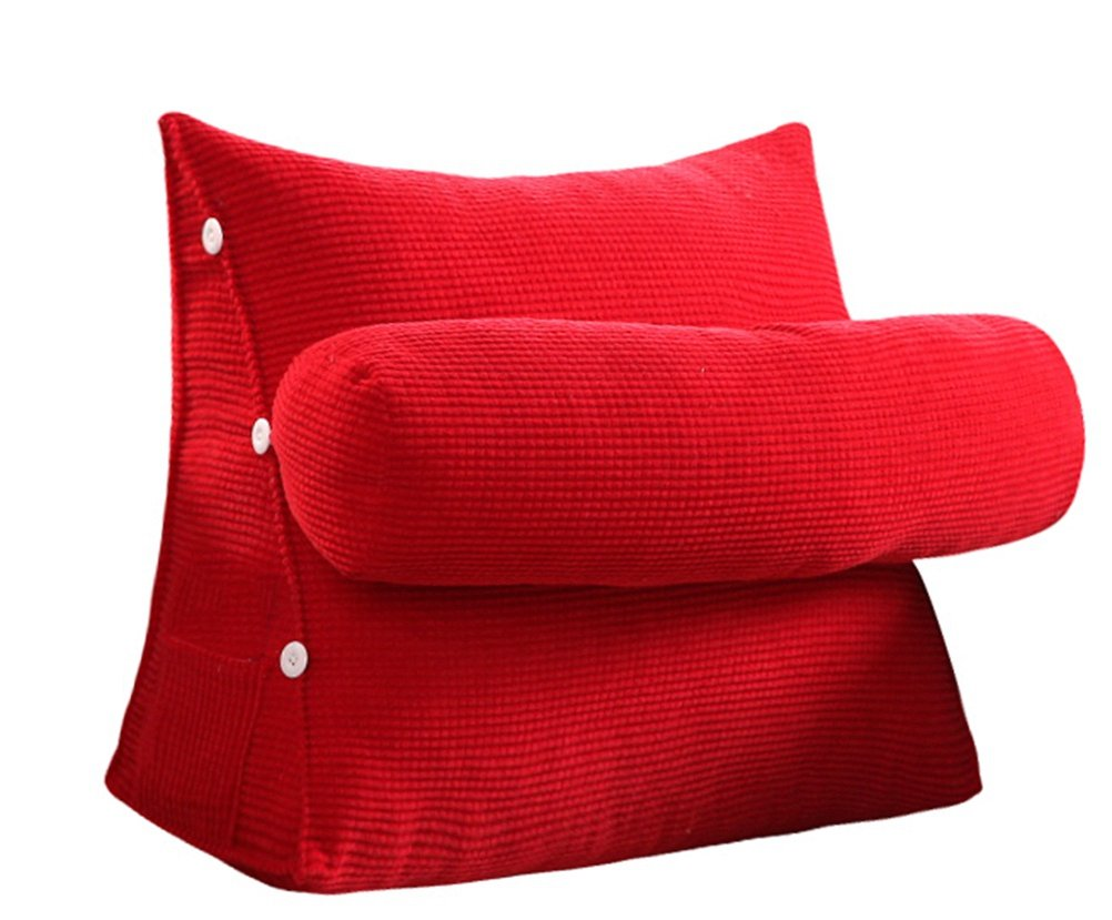 Adjustable Sofa Large Filled Triangular Wedge Cushion Couch Bed Office Chair Backrest Pocket LivebyCare Positioning Support Pillow Reading Office Lumbar Pad with Removable Cover