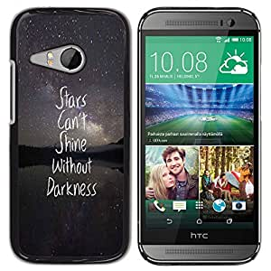 Planetar® ( Stars Night Text Darkness Inspiring Quote ) HTC ONE MINI 2 / M8 MINI Fundas Cover Cubre Hard Case Cover