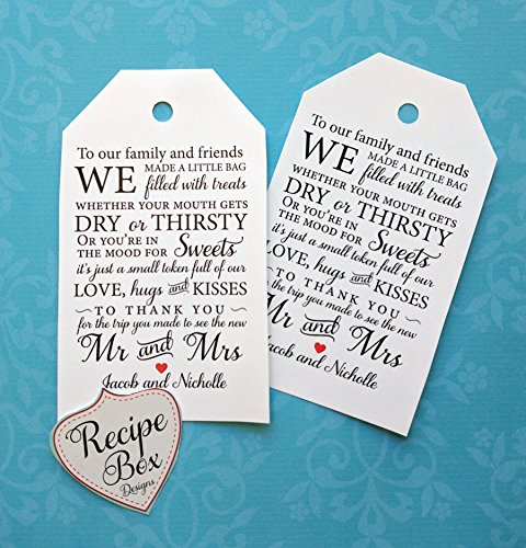 Wedding Favor Tags, Out of town wedding guest bag tags, Custom Gift Tags, Wedding Favors, Wedding Favor Tags, 30 tags, 2.5 x 4.25 Size Tags NON returnable - Custom Made (Gifts For Out Of Town Wedding Guests)
