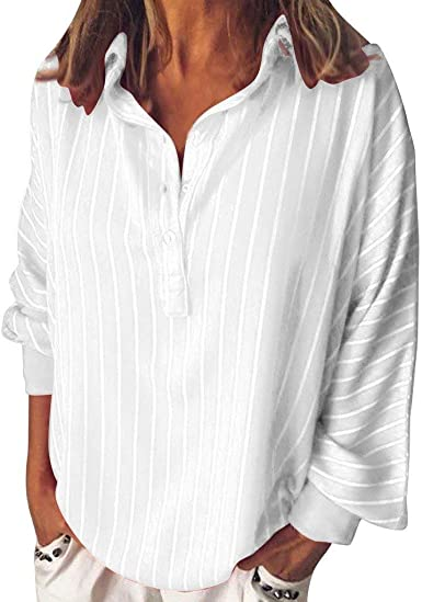 Button Tops for Women Stripe Tunic Blouse Long Sleeve Tshirts Loose Casual Lapel Tees Camis Summer Tunic Tops
