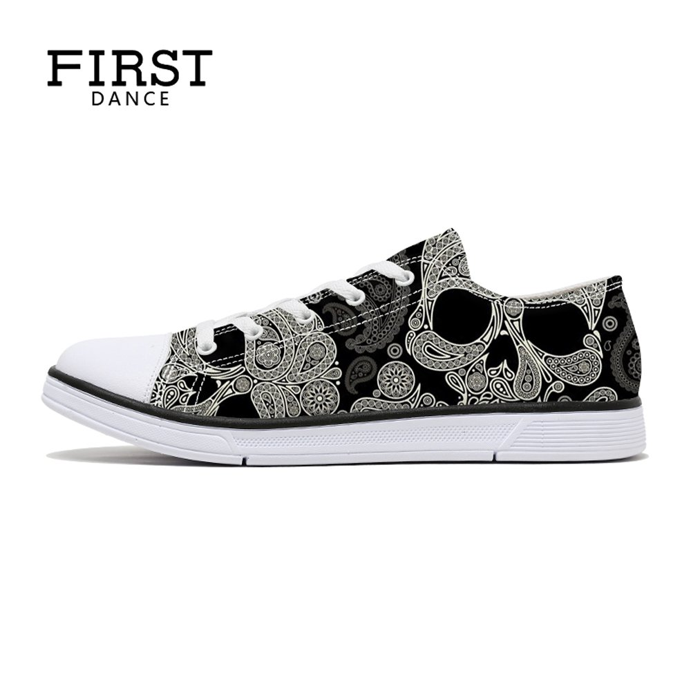 FIRST DANCE Women/Men Skull Printed Shoes Paisley Printed Casual Sneakers Girls Student Canvas Shoes for Ladies Cute 7.5US
