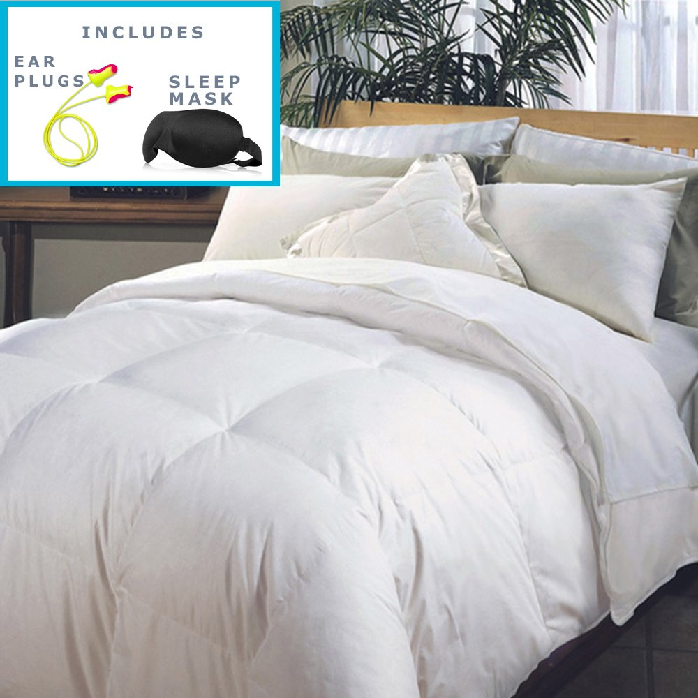 Hotel Grand Naples 700 Thread Count Medium Warmth Down Alternative Comforter (Full/Queen) Sleep Mask & Comfortable Pair of Corded Earplugs Included
