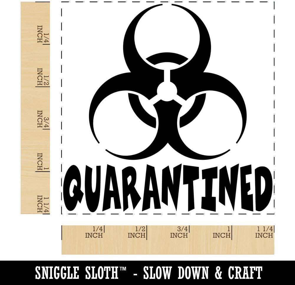 1.75in Medium Quarantined Biohazard Symbol Square Rubber Stamp for Stamping Crafting