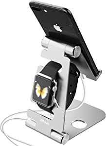 JETech 2-in-1 Aluminum Stand Compatible with Smartphones and Apple Watch, Foldable Holder, Multi-Angle Desktop Cradle, Adjustable Charging Dock - Silver