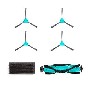 DeenKee DK600 Robot Vacuum Replacement Accessories Including 4 Side Brushes,1 Roller Brush,1 Filter HEPA.