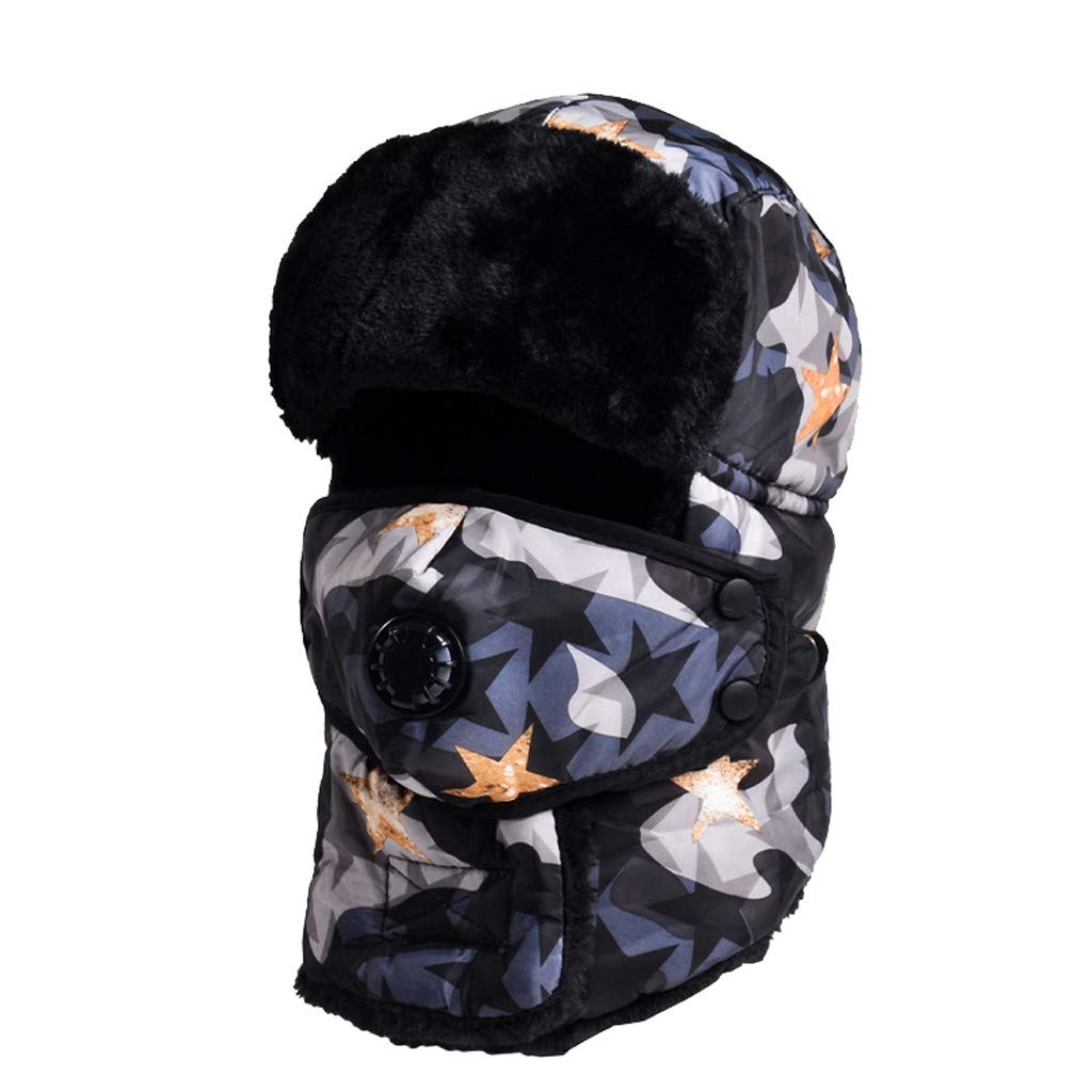 Loneflash Winter Windproof Ski Hat Winter Trooper Trapper Hat Warm with Ear Flaps and Mask Cold Weather Mask Face Mask Snow mask 24