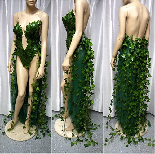 Plunge Poison Ivy Monokini Gown Dress Rave Bra Cosplay Costume -