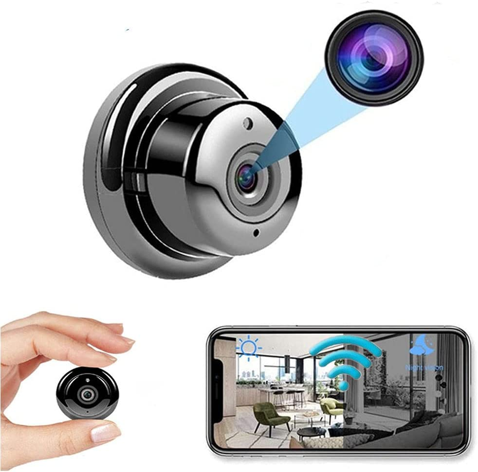 WiFi Camera Nanny Cam Mini Body Camera, Small Home Security Camera, 150° Wide-Angle CCTV IP Surveillance, Night Vision, Motion Detection, Baby Monitor, Suitable for Indoor and Outdoor Home Offices