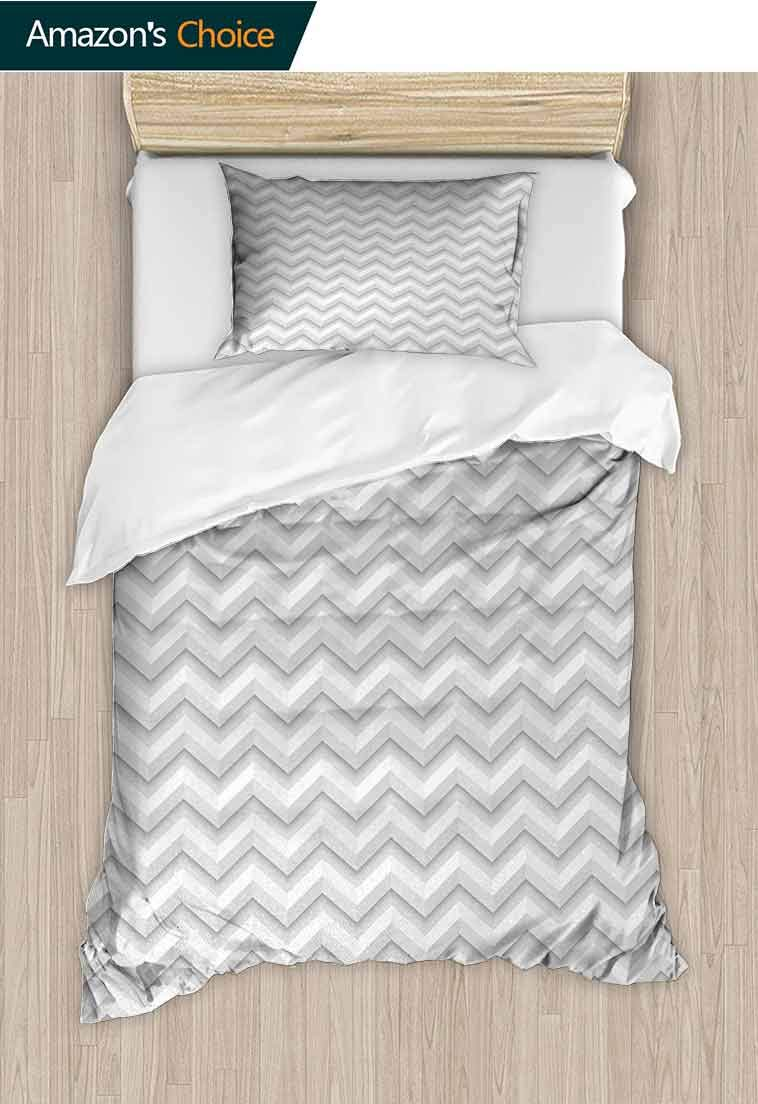Geometric Printed Quilt Cover and Pillowcase Set, Simple Zig Zag Chevron Many Angle Pattern Minimalist Abstract Design Print, Decorative 2 Piece Bedding Set with 1 Pillow Sham, 71 W x 79 L Inches