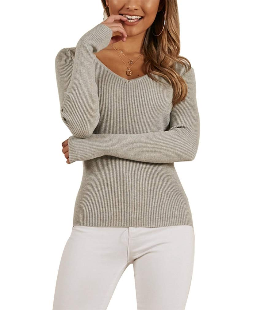 Lealac Women's Casual V Neck Long Sleeve Criss Cross Backless Knit Pullover Sweaters Jumper Tops L116-SW81707 Gray S