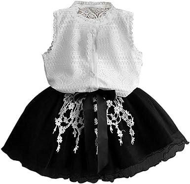 FAMILIZO Vestido de niñas, Bebés Niñas Vestidos Verano NiñAs Crochet Camisa De Encaje Princesa Vestir Ropa Conjunto: Amazon.es: Ropa y accesorios
