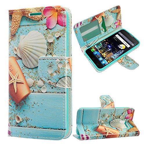 Alcatel Idol 4 / 6055 Case, Luckiefind PU Leather Flip Wallet Credit Card Cover Case, Stylus Pen & Screen Protector Accessory (Wallet Beach (Alcatel Flip Phone)